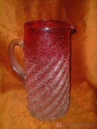 Jarra De Refresco Cristal Soplado Rizada Asa Art Nouveau Ff Sg Xix 1890 1910 Color Difuminado
