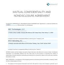 Mutual Confidentiality Agreement Agreement For Exchange Of Mutual ...