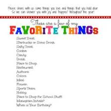 10 Best Favorites List Images Teacher Survey School Teacher