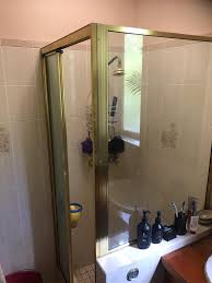 shower screen slider with polished silver frame