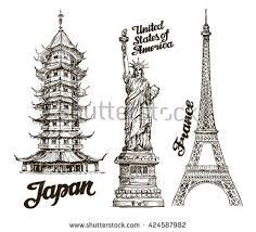 architectural drawings of famous buildings. Hand Drawn Sketch Japan, USA, France. Famous Buildings Of Architectural Drawings L