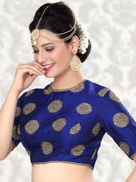 Designer Blouse Online Shopping With Price Attractive Raw Silk Blue Ready Made Blouse For Price Or