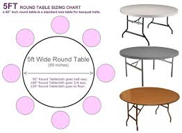 5ft round table sizing chart