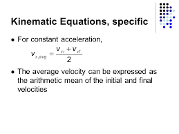 kinematic equations specific