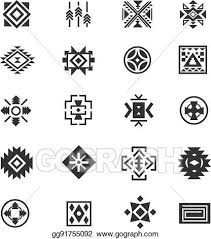 Navajo tattoo designs Unique Traditional Tribal Mexican Symbols Navajo Ethnic Culture Vector Tattoo Icons For Print Gograph Vector Stock Traditional Tribal Mexican Symbols Navajo Ethnic