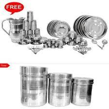 Steel Dinner Set - Buy <b>Stainless Steel Dinner Sets</b> Online on HS18