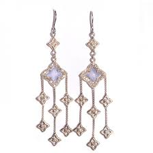 david yurman sterling silver diamond chalcedony quatrefoil chandelier earrings 93695
