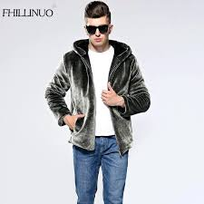 faux fur hooded coat mens winter faux fur coat men silver color warm elegant soft comfortable