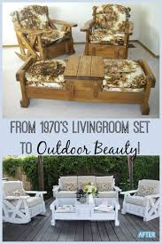 Cool diy furniture set Kitchen This Upcycled 1970s Living Room Set Was Turned Into Beautiful Outdoor Furniture Pinterest 70s Set To Outdoor Beauty In 2019 Upcycling Ideas Pinterest