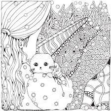 猫のかわいい漫画の女の子冬雪が降っています大人ぬりえ本もみクリスマス