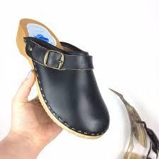 Swedish Design Shoes Leather Wooden Clogs Black Clog Shoes Scandinavian