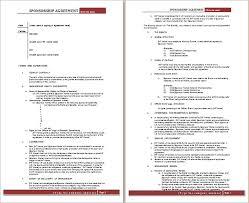 sponsorship agreement ms word sponsorship agreement template free agreement templates