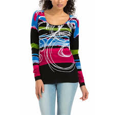 Desigual Dress Size Chart Desigual Kinamo Printed Scoop Neck Sweater