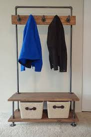 Industrial Coat Rack Bench Industrial Pipe And Wood Entry Coat Rack Bench Entrance Bench 31
