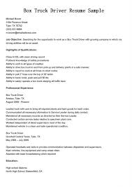 Box Truck Driver Resume Sample For Job Objective With Highlights Of
