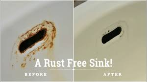 how to remove rust stain on porcelain sink