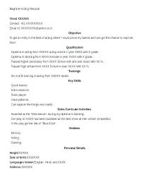 Acting Resume Beginner Acting Resume Templates How To Make An Acting Resume Template