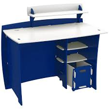legare kid s desk with accessory shelf and file cart in race car collection blue and white