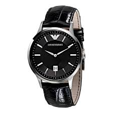 men s emporio armani watches ernest jones emporio armani men s black leather strap watch product number 1629220