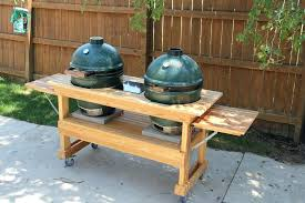 build big green egg table custom big green egg double table from cypress by build your