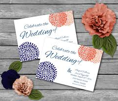 downloadable wedding invitations coral and navy printable wedding invitations party invitations