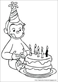 curious george coloring pages page happy birthday printable free