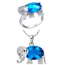 Plated <b>NEW set of 925</b> Sterling Silver Elephant suit set pendant ring