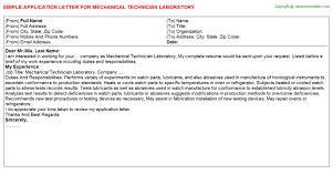 Mechanical Technician Laboratory Job Application Letters