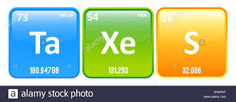 Taxes Word Made Of Periodic Table Elements Tantalum, Xenon And ...