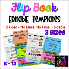 Editable Foldable Templates Editable Flip Book Template Bundle Foldable No Mess 3 Sizes By