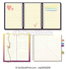 Notebook Sheet Template Set Of Open Realistic Notebooks With Pages Diary Office Sheet