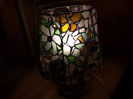 unique sea glass stained glass art lamp wild flowers