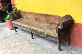 Antique Wooden Bench In A Tiled Courtyard Colonial San Cristobal De Las  Casas Chiapas Antique I75