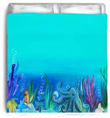 octopus under the ocean sea life bedding art toddler