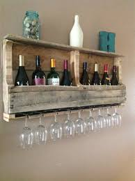 another rustic pallet wine rack with glasses