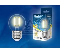 <b>Лампа</b> светодиодная <b>Uniel LED</b>-<b>G45</b>-5W/WW/E27/CL/DIM - цена ...