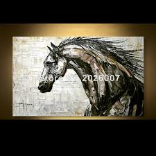 hand painted abstract horse oil acrylic palette knife abstract oil painting on canvas modern painting decoration