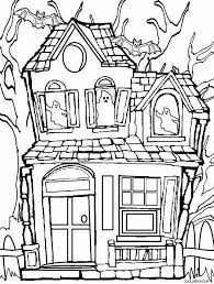 Simple Design Haunted House Coloring Pages Sheet Page View In Full
