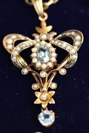 edwardian gold aquamarine seed pearl pendant with chain