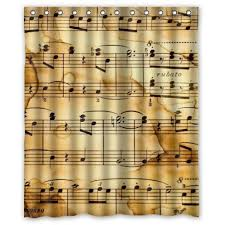 Custom Music Notes Bathroom Fabric Shower Curtain