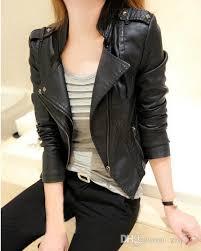 new korean female double collar leather jacket women s leather short coat female installed ms slim collar leather jacket rivet