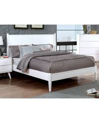 Furniture of America California King Size Bed Modern Mid-Century White Color Wooden Headboard Rails Solid Wood Bedframe Classic Bed from Wal-Mart USA, ...