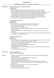 Senior Receptionist Resume Samples | Velvet Jobs