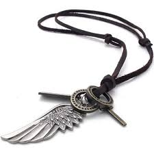 black friday mendino mens pendant alloy angel wing feather cross adjustable leather necklace with a velvet bag 05518