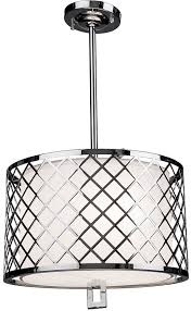 artcraft sc963 trellis contemporary chrome drum hanging pendant lighting loading zoom
