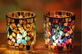 whole mosaic glass votive candle holders