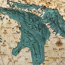 Wood Bathymetric Charts Explore The Underwater Topography Of North American Lakes
