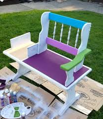 funky patio furniture. Funky Hand Painted Bench, Outdoor Furniture, Repurposing Upcycling Patio Furniture