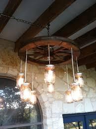 wagon wheel mason jar chandelier