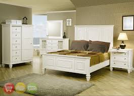 Sandy Beach Tropical White King Panel Bed 5 Pc Bedroom Furniture Set ...